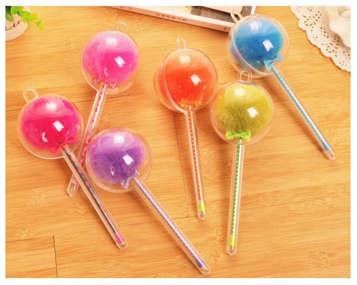 Black Ink FLUFFY PUFFY HEAD pens- More Colors!