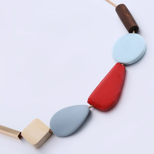 70's Homage Wood- like Resin Bead NECKLACE (Choice of: Red or Blue Accent)