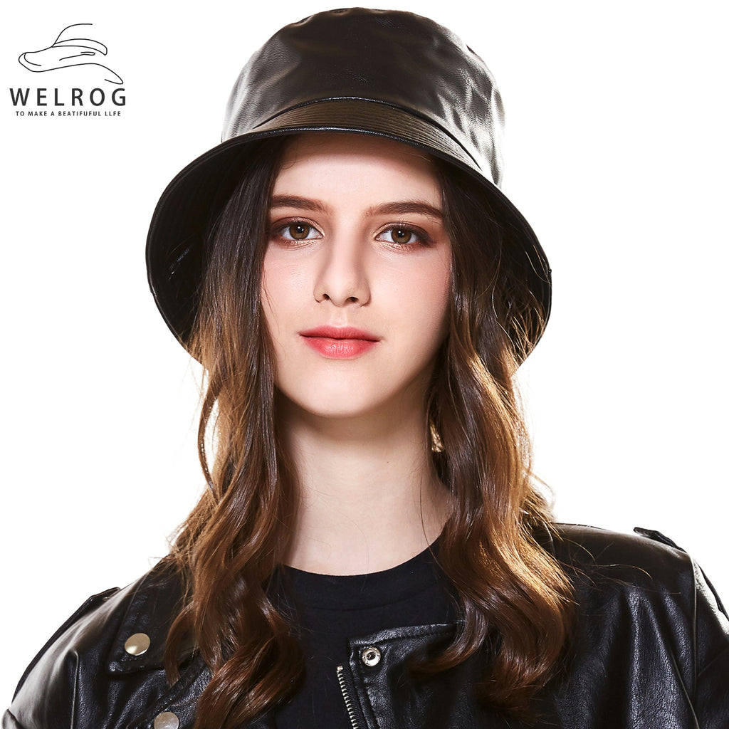 Black Faux Leather Bucket Cap