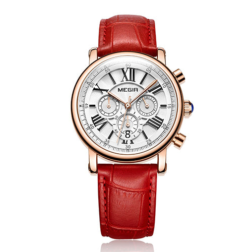 MEGIR Classic Look Sports Wrist Watch with Leather Band