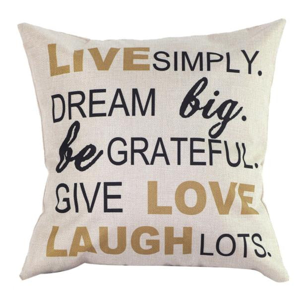 LIVE SIMPLY, DREAM BIG Cotton Linen Blend Cushion COVER