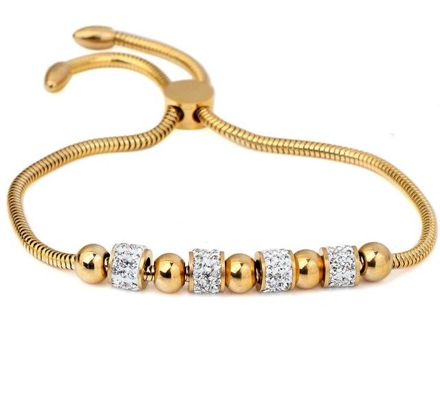 Stainless Steel with Crytals & Gold/Silver Beads ADJUSTABLE BRACELET