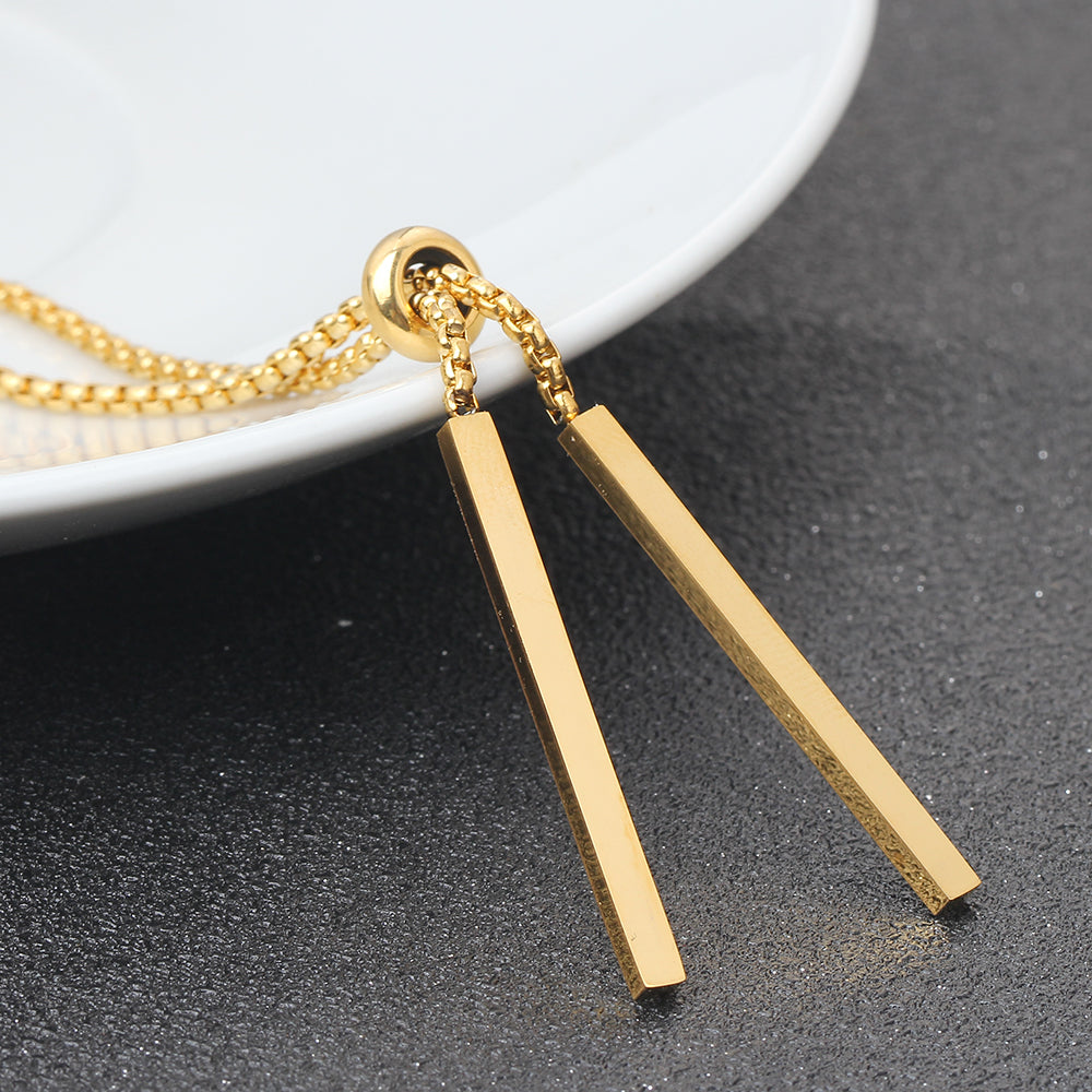 Stainless Steel Gold-Color Plated LONG NECKLACE