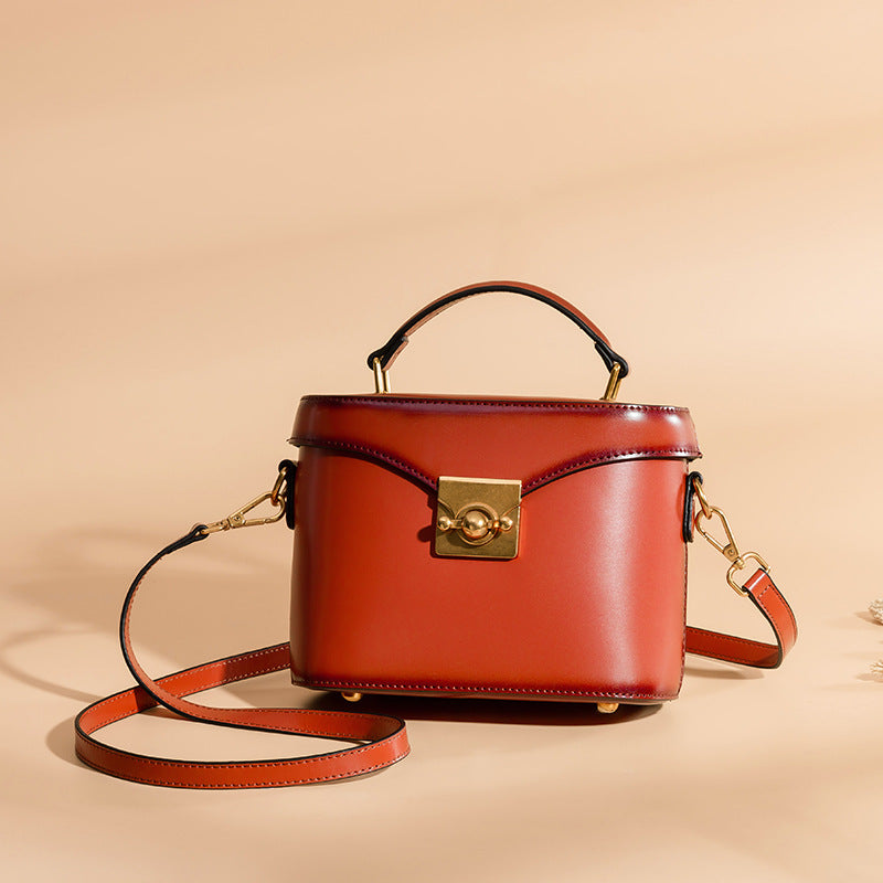 GENUINE LEATHER Box Style Handbag