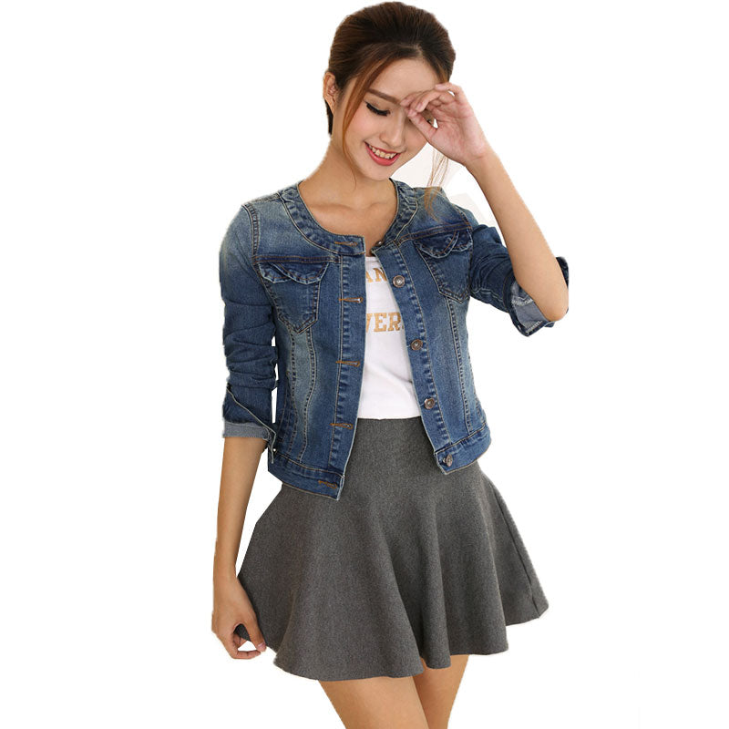 Round Collar DENIM Cropped Jacket