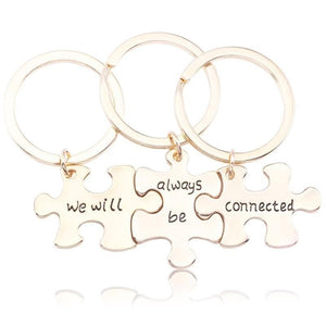 We Will Always Be Connected 3- Piece Puzzle Keychain