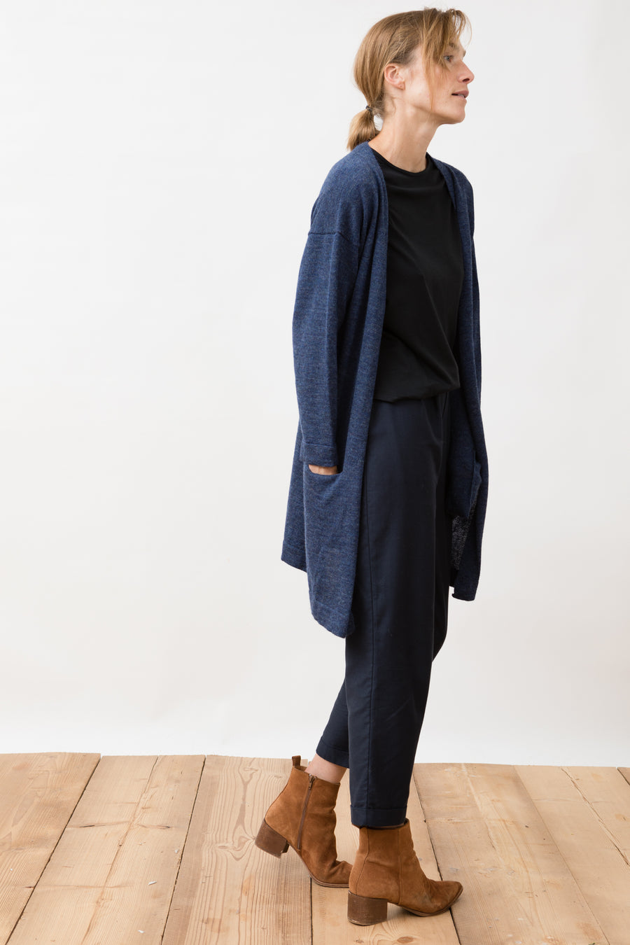 Yuina Knit Cardigan Grey-Blue