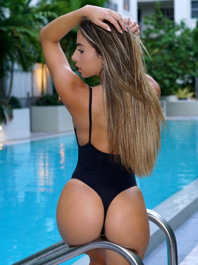 Basic Black One-Piece Scrunch & Normal