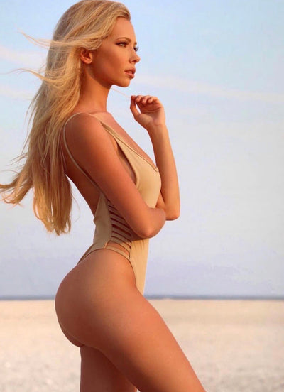 Nude Side Slits One-Piece Scrunch & Normal