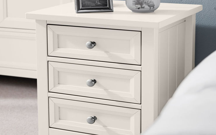 Maine 3 Drawer Bedside Table - Surf White