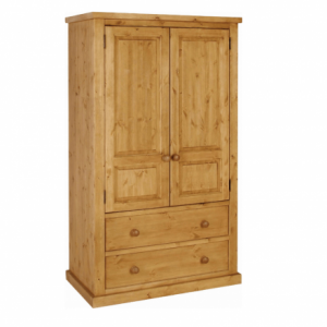 Chunky Pine Wardrobe with 2 Drawers