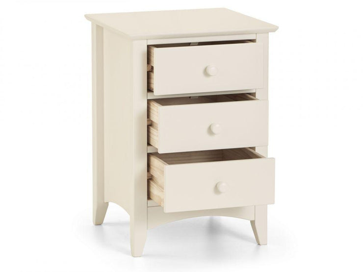 Cameo 3 Drawer Bedside Table - Stone White