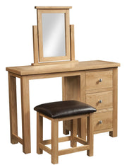Dorset Oak Single Pedestal Dressing Table with Stool