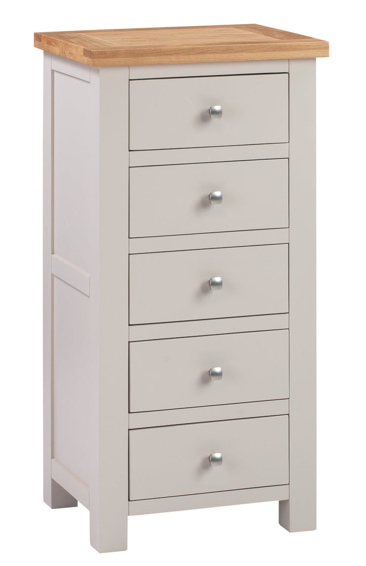 Dorset Putty Painted 5 Drawer Tall Chest Of Drawers