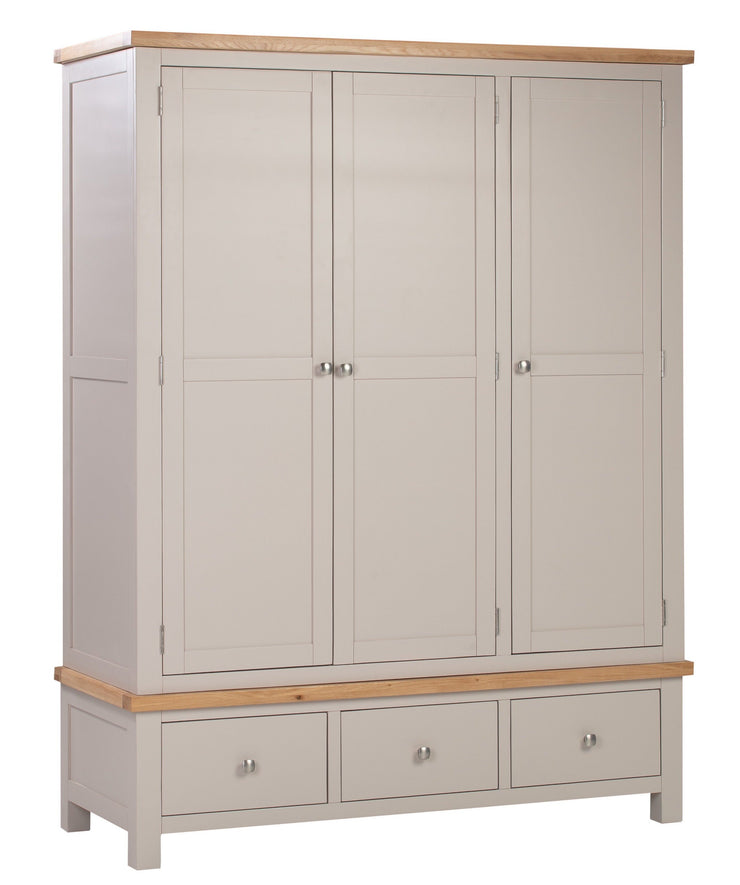 Dorset Putty Painted Triple 3 Drawer Wardrobe