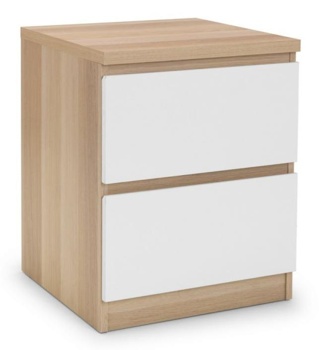 Jupiter 2 Drawer Bedside Table - White/Oak