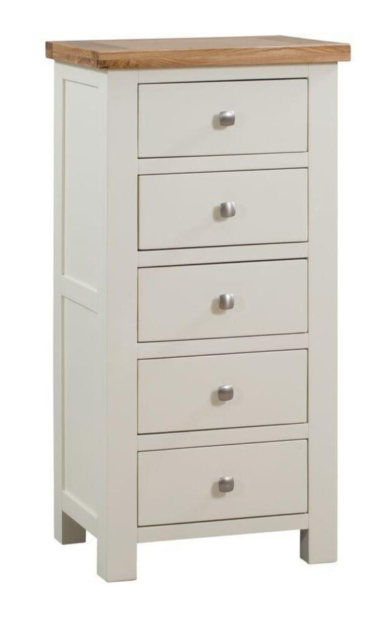 Dorset Painted Oak 5 Drawer Tall Chest Of Drawers
