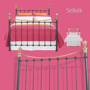 Selkrik Bedstead and Headboard - Antique Brass