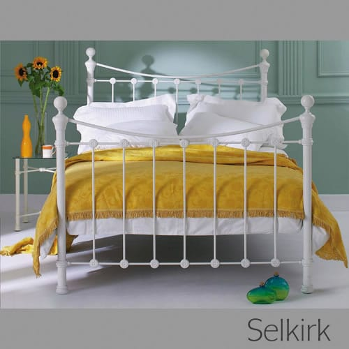 Selkrik Bedstead and Headboard - Glossy Ivory Finish