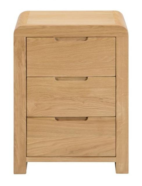 Curve 3 Drawer Bedside Table