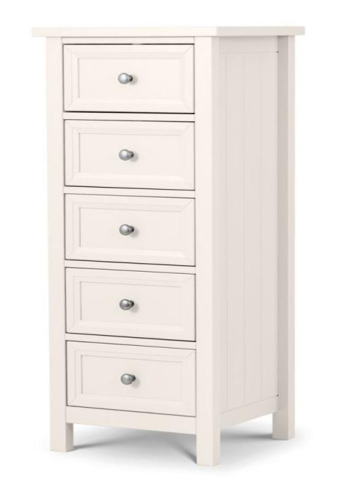 Maine 5 Drawer Tall Chest Of Drawers - Surf White