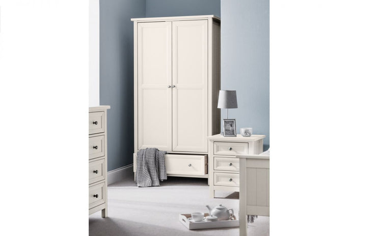 Maine 2 Door Combination Wardrobe - Surf White