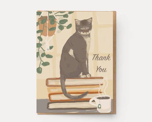 Book Cat Thank You Card