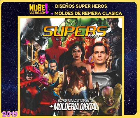 PACK 4: 12 VECTORES SUPER HEROES MÁS MOLDERIA DIGITAL
