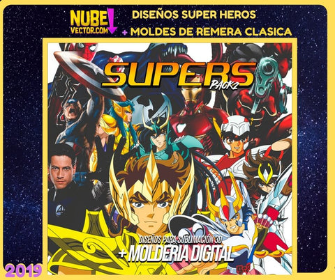 PACK 2 : 12 VECTORES SUPER HEROES MÁS MOLDERIA DIGITAL