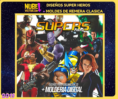 PACK 3: 12 VECTORES SUPER HEROES MÁS MOLDERIA DIGITAL