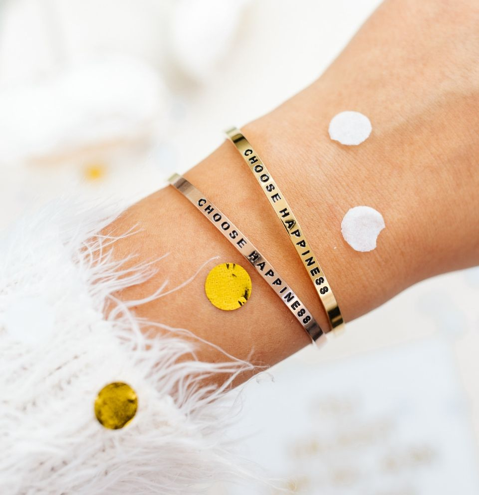 Choose Happiness Mantra-Armbänder mit Gravur Gold, Roségold