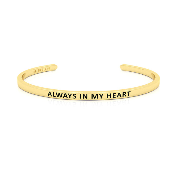 Always In My Heart Armband mit Gravur Gold