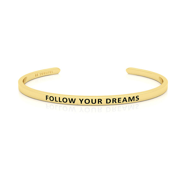 Follow Your Dreams Armband mit Gravur Gold