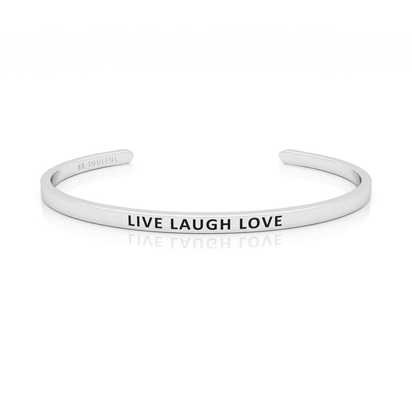 Live Laugh Love Armband mit Gravur Silber