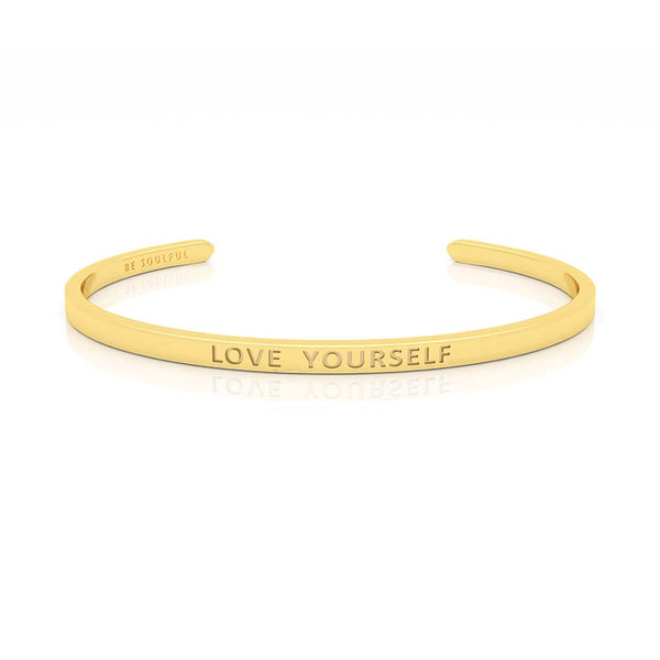 Love Yourself Armband mit Gravur Gold