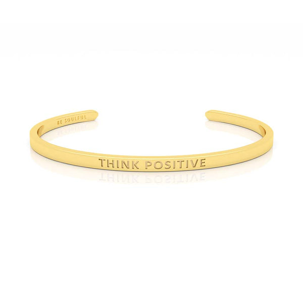 Think Positive Armband mit Gravur Gold