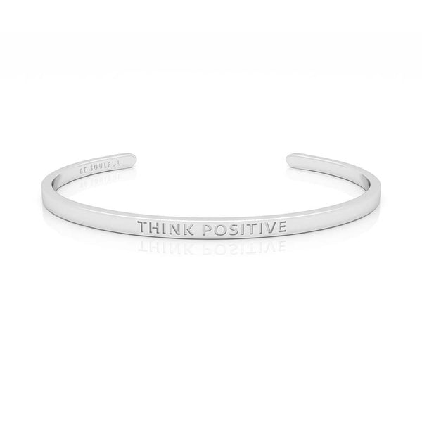 Think Positive Armband mit Gravur Silber