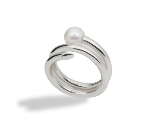 R3968  ADJUSTABLE SPIRAL PEARL RING - Joryel Vera Jewelry