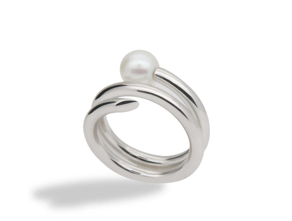 R3968  ADJUSTABLE SPIRAL PEARL RING