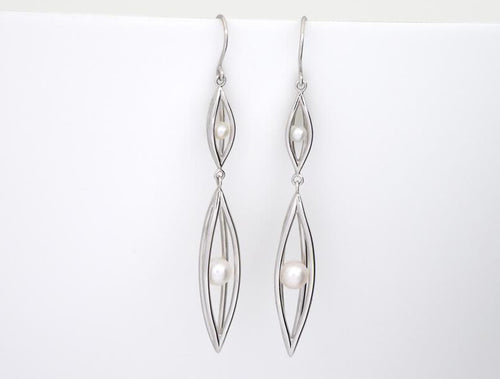 E9340  FRESHWATER 4 & 7mm PEARLS in a CAGE EARRING - Joryel Vera Jewelry
