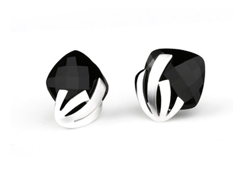 E4931  BLACK ONYX SIGNATURE EARRING - Joryel Vera Jewelry