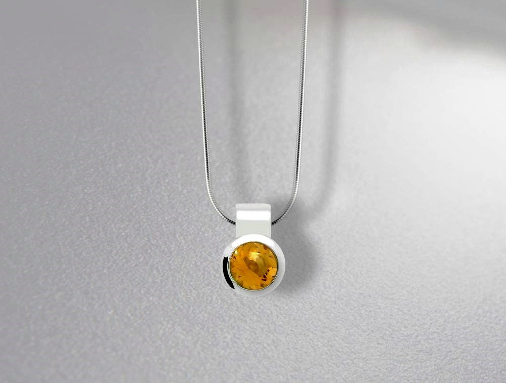 P6972   8mm CITRINE PENDANT - Joryel Vera Jewelry