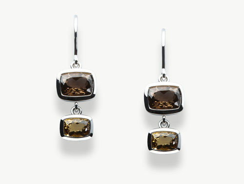 E5765 SMOKEY QUARTZ & HONEY QUARTZ EARRING - Joryel Vera Jewelry