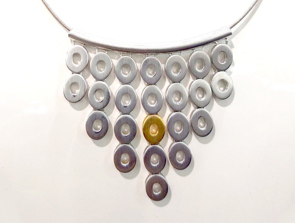 N4864 TWO TONE METAL NECKLACE - Joryel Vera Jewelry