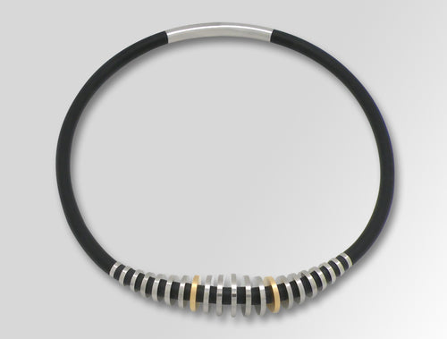 740620792 CHIP ART SILICON & STEEL NECKPIECE - Joryel Vera Jewelry