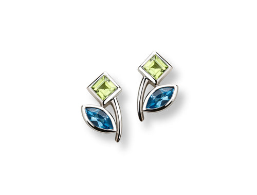 E5541 Peridot & Blue Topaz Flower Earring