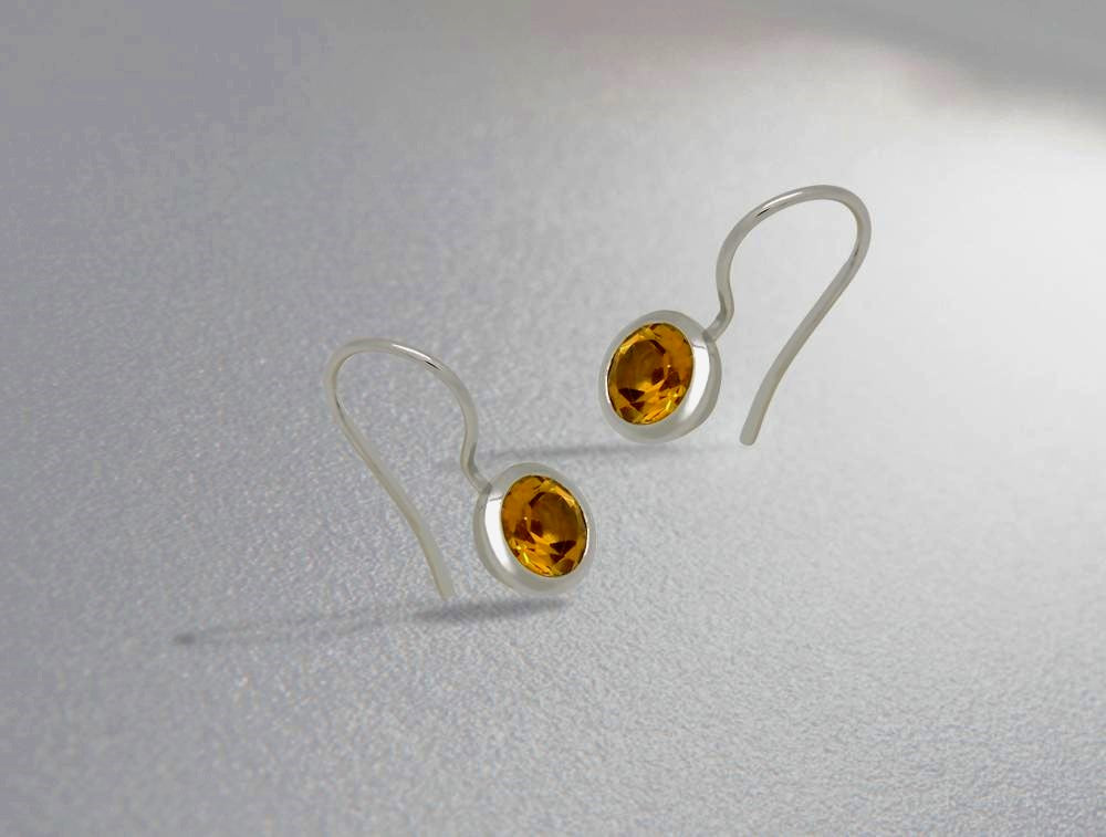 E3183 8mm  CITRINE EARRING