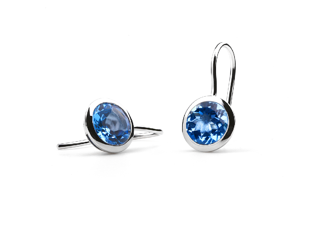 E3140 10mm BLUE TOPAZ EARRING