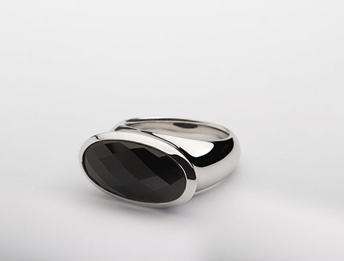 R4732 BLACK ONYX OVAL RING - Joryel Vera Jewelry