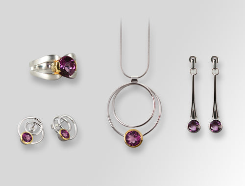 MODERN CIRCLE DESIGN AMETHYST SET - Joryel Vera Jewelry